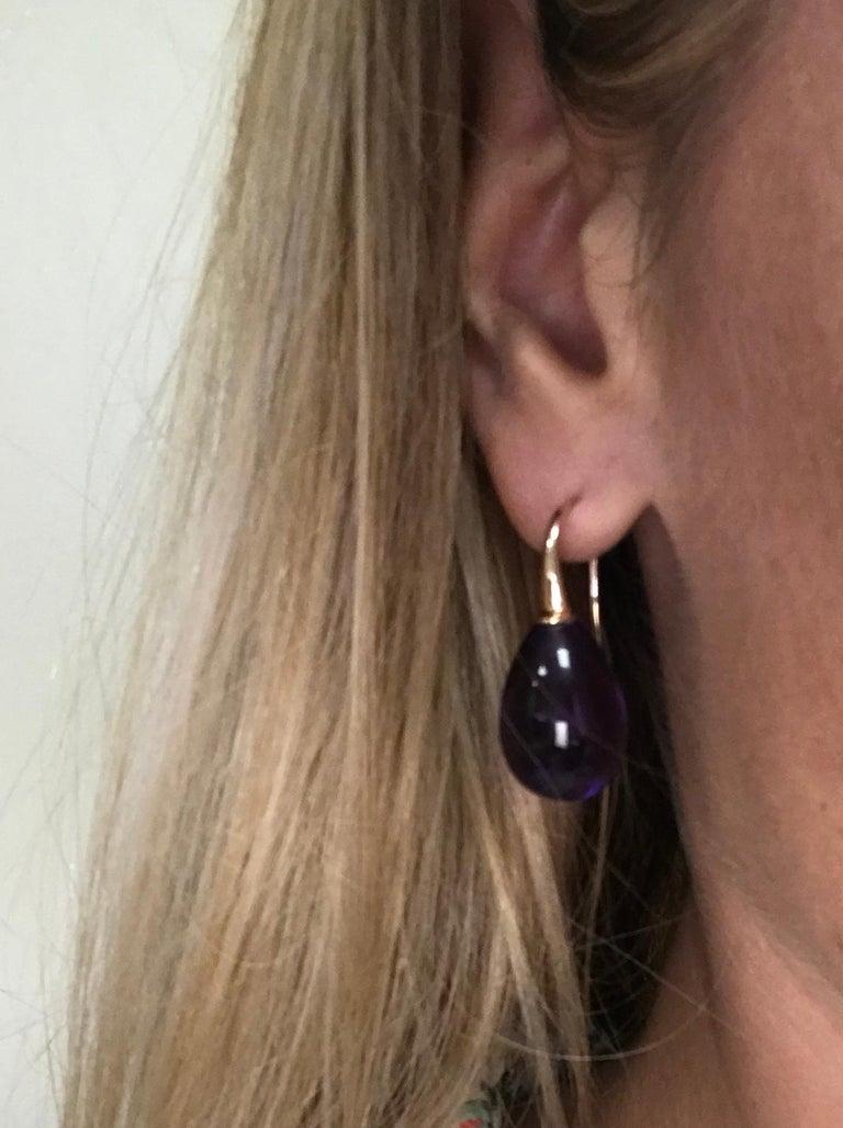 Hydro Amethyst Rose Gold 18 Karat Drop Earrings For Sale 6