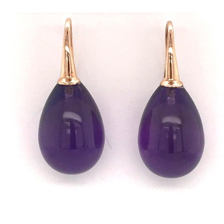 Hydro Amethyst Rose Gold 18 Karat Drop Earrings For Sale 1