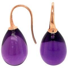 Hydro Amethyst Rose Gold 18 Karat Drop Earrings
