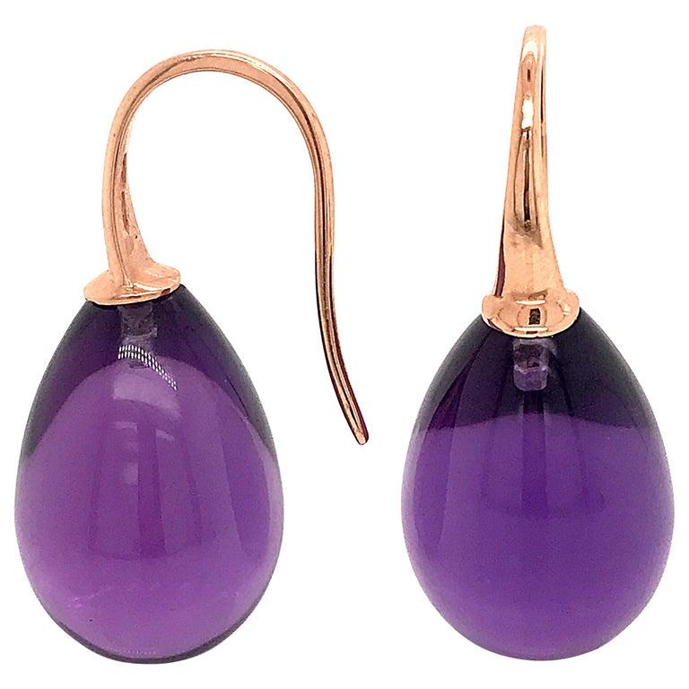 Hydro Amethyst Rose Gold 18 Karat Drop Earrings For Sale
