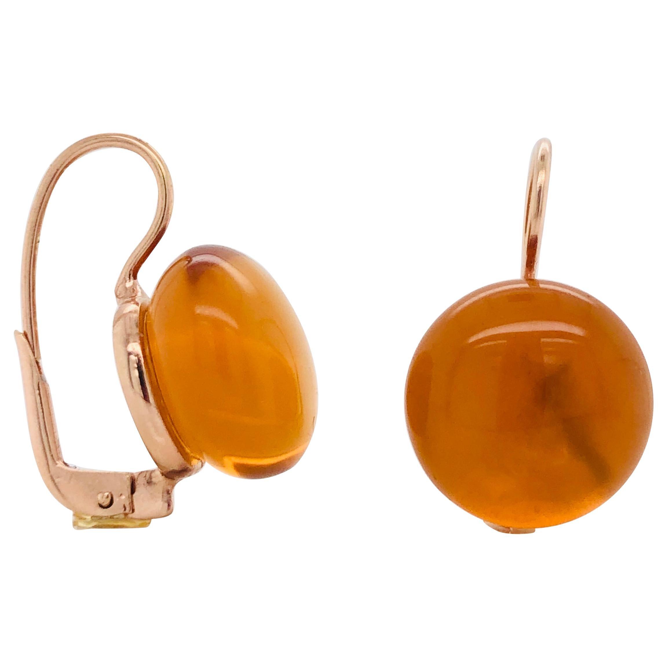 Hydro Citrine Rose Gold 18 Karat Dangle Earrings