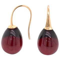 Hydro Garnet and Rose Gold 18 Karat Drop Earrings