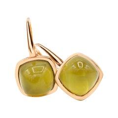 Hydrothermal Olive Quartz 18 Karat Yellow Gold Earrings