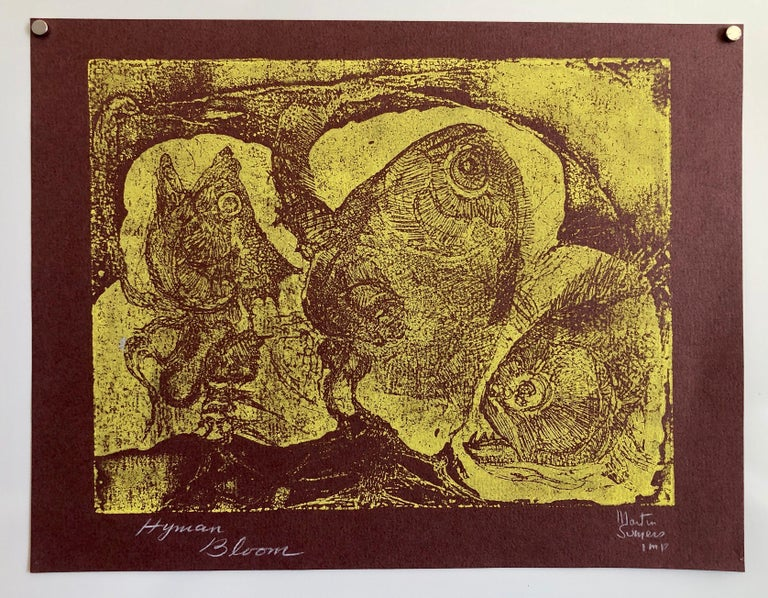 Boston Abstract Expressionist Hyman Bloom Monoprint Monotype Print Martin Sumers For Sale 3