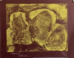 Boston Abstract Expressionist Color Hyman Bloom Monoprint Etching Print Fish