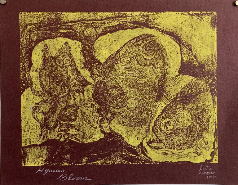 Boston Abstract Expressionist Hyman Bloom Monoprint Monotype Print Martin Sumers - Brown Abstract Print by Hyman Bloom