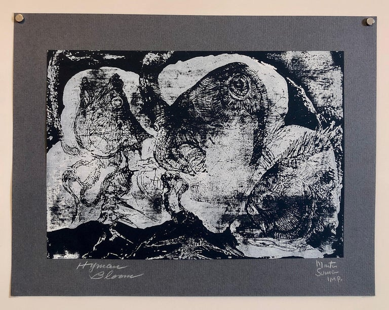 Boston Abstract Expressionist Hyman Bloom Monoprint Monotype Print Martin Sumers 3