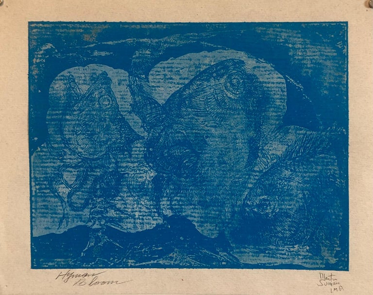 Boston Abstract Expressionist Hyman Bloom Monoprint Monotype Print Martin Sumers - Blue Animal Print by Hyman Bloom
