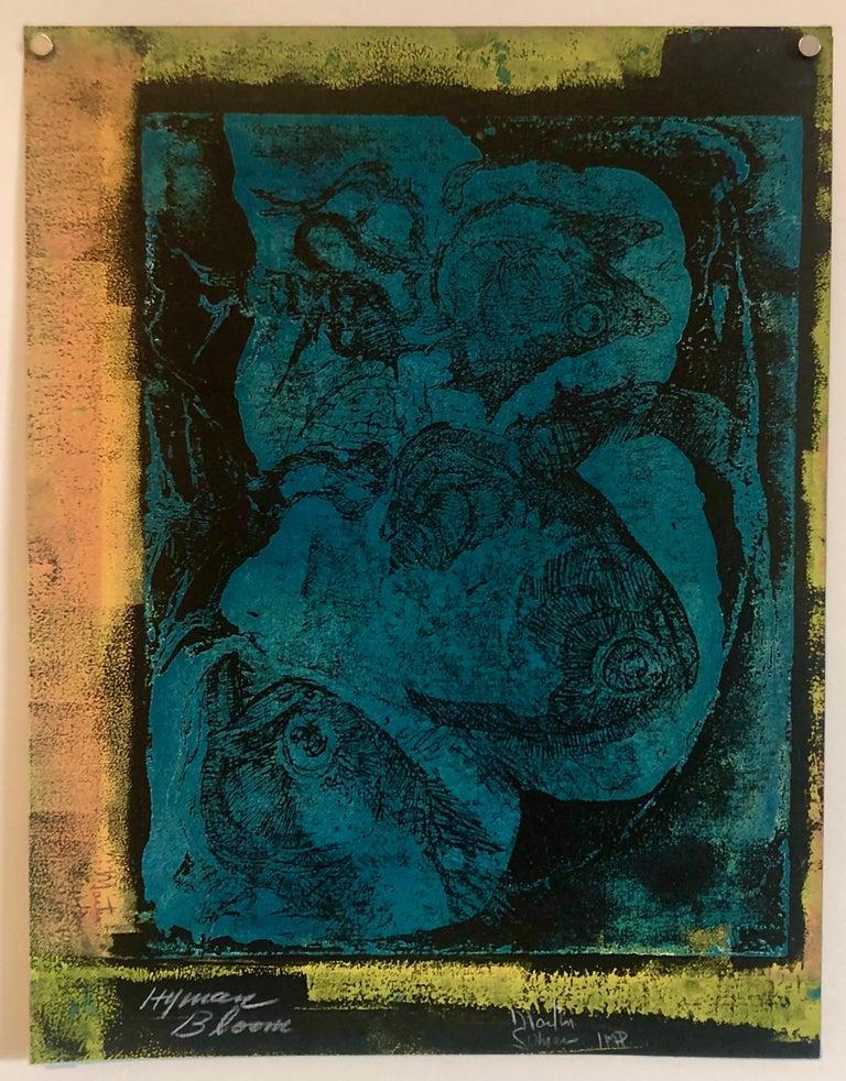 Boston Abstract Expressionist Hyman Bloom Monoprint Monotype Print Martin Sumers - Black Animal Print by Hyman Bloom