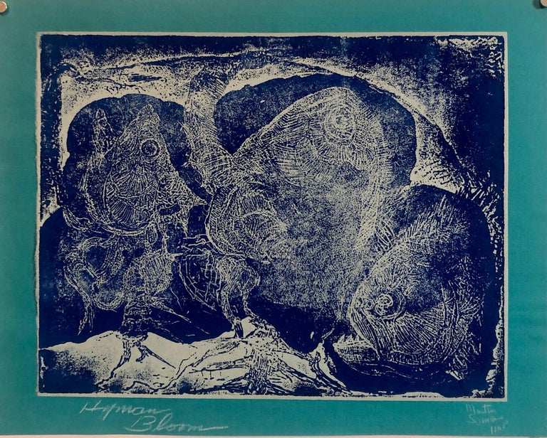 Boston Abstract Expressionist Hyman Bloom Monoprint Monotype Print Martin Sumers - Blue Abstract Print by Hyman Bloom