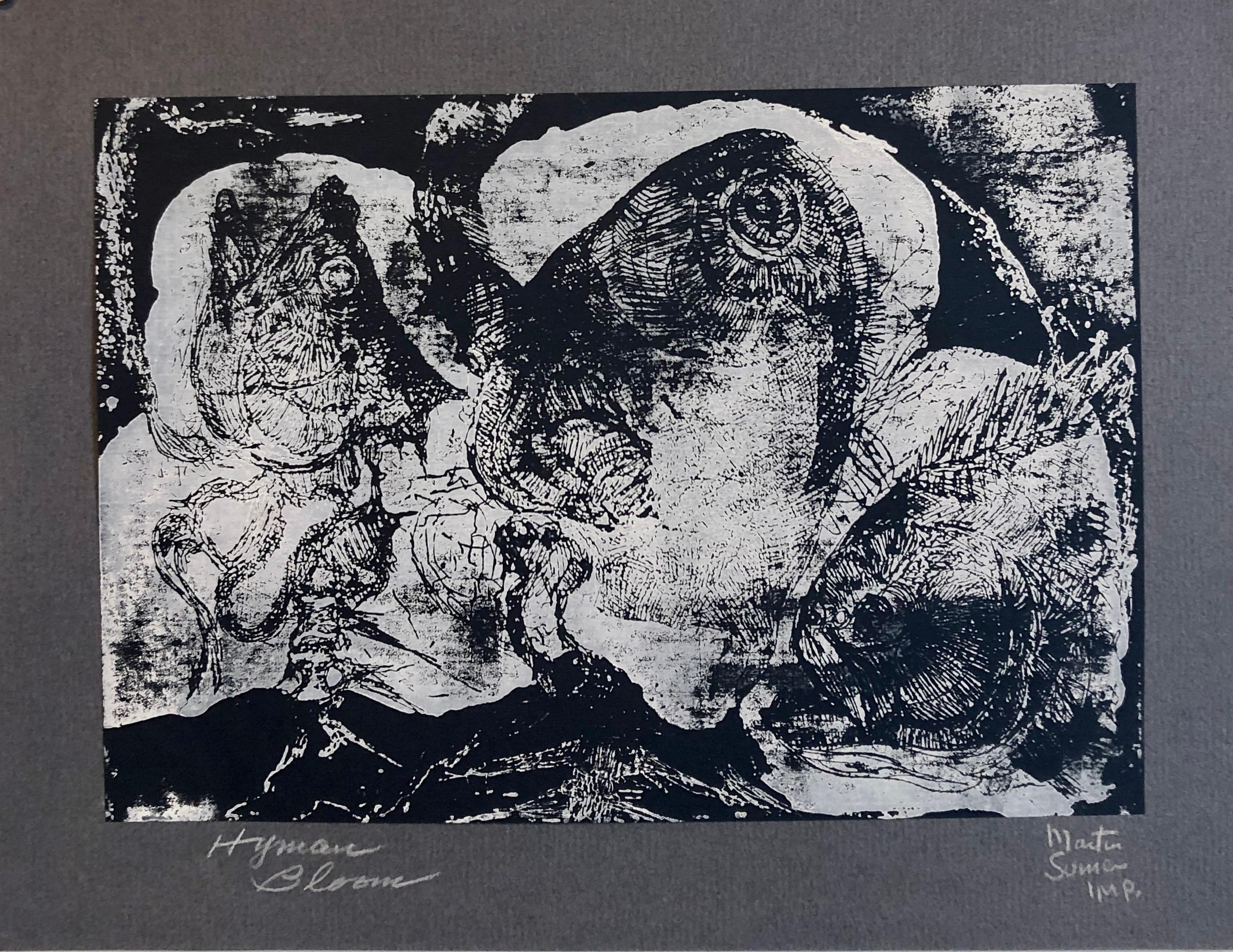 Boston Abstract Expressionist Hyman Bloom Monoprint Monotype Print Martin Sumers