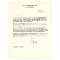 Hyman G. Rickover Signed Letter to Robert L. Michaels, 1972