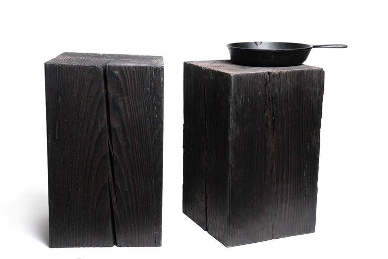 Organic Modern Asian Style Black Solid Wood Cube Side Table Sho Shugi Ban (12