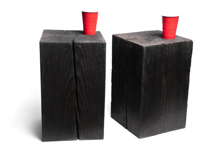 American Asian Style Black Solid Wood Cube Side Table Sho Shugi Ban (12