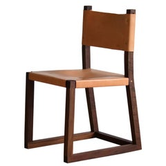 Hypatia Side Chair With Unglazed Leather Seat And Back On Walnut Frame