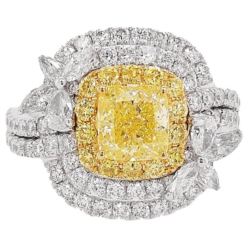 HYT GIA Certified Fancy Intense Yellow Diamond and White Diamond Cocktail Ring