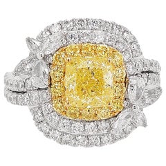 HYT GIA Certified Fancy Intense Yellow Diamond and White Diamond Cocktail Ring
