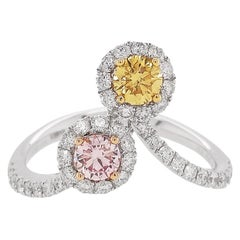 HYT GIA Certified Pink and Yellow Diamond and White Diamond Cocktail Ring