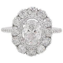 HYT GIA Certified White Diamond 18 Karat White Gold Cocktail Ring