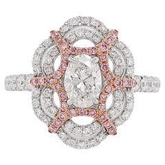 GIA Certified White Diamond and Argyle Pink Diamond Cocktail Ring