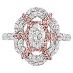 HYT GIA Certified White Diamond and Pink Diamond Cocktail Ring
