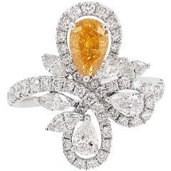 HYT GIA Fancy Intense Yellow Orange Diamond and White Diamond Cocktail Ring