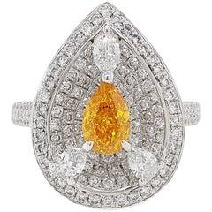 HYT GIA Fancy Vivid Yellow Orange Diamond and White Diamond Cocktail Ring