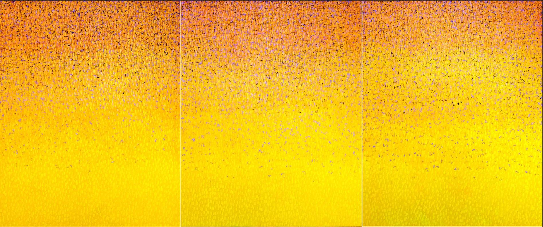 """Bright Yellow Monochrome Painting """"Words Triology"""" by Korea-American Artist"""