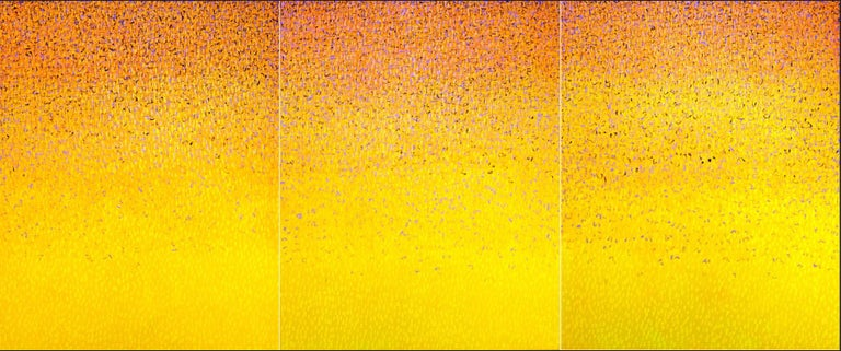 """Hyun Ae Kang Abstract Painting - Bright Yellow Monochrome Painting """"Words Triology"""" by Korea-American Artist"""