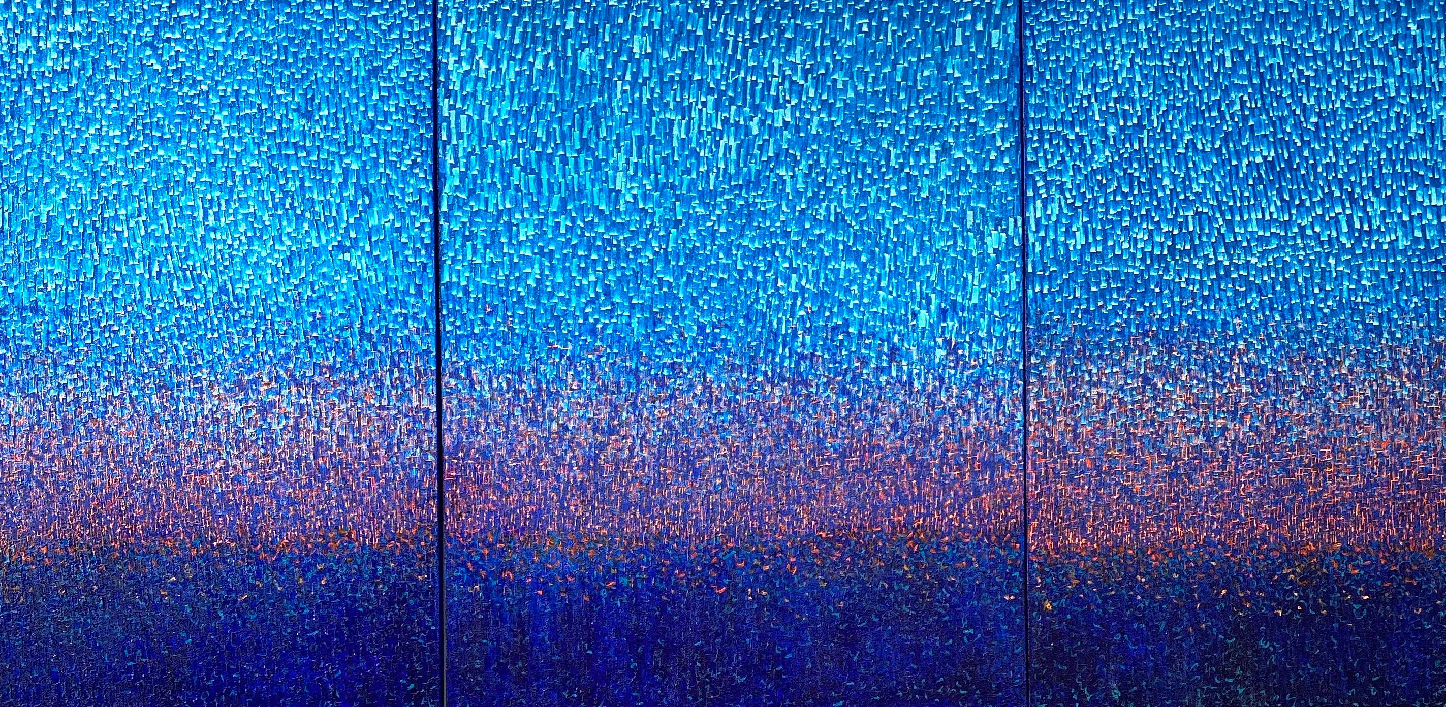 """Impressive Blue Monochrome Abstract Triptych """"Winter Fall Trilogy"""", Asian Art"""