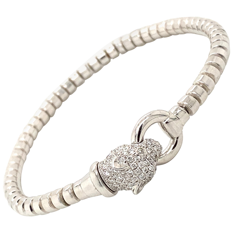 Panther Diamond Head 18 Karat White Gold Flexible Italian Made Bracelet