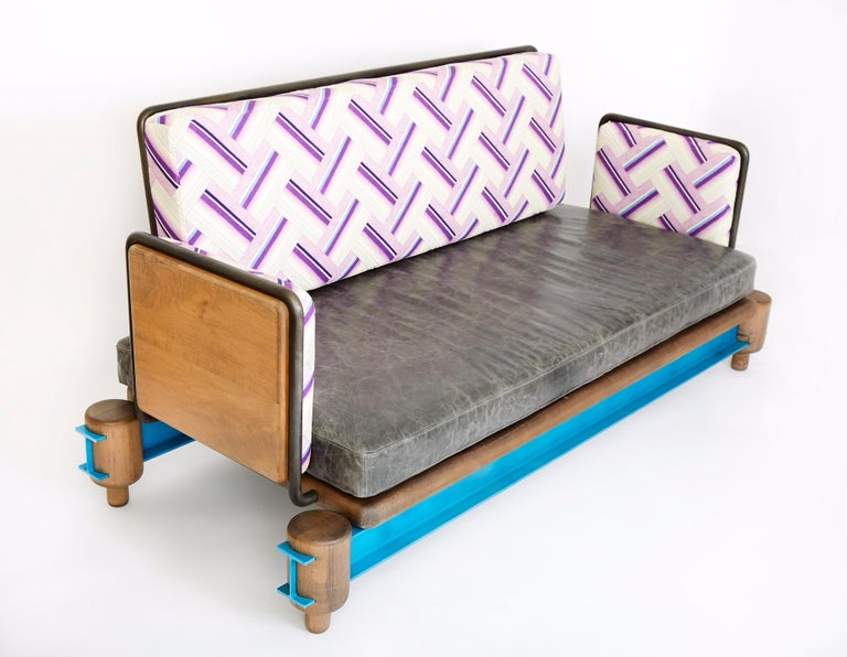 """""""I-Beam Couch"""" Steel, Oxidized Maple and Lacquered Aluminum I-Beam Modern Couch In New Condition For Sale In Brooklyn, NY"""