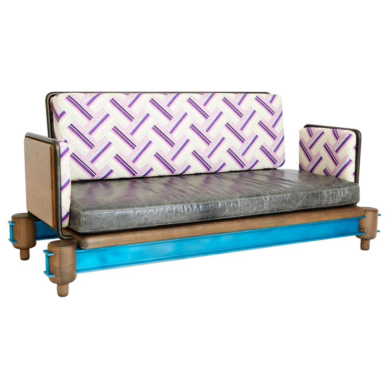 """""""I-Beam Couch"""" Steel, Oxidized Maple and Lacquered Aluminum I-Beam Modern Couch For Sale"""