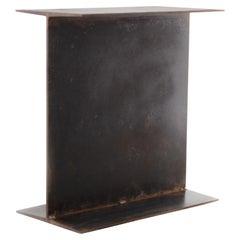 """I"" Beam End Table, Black Mottled Patina"
