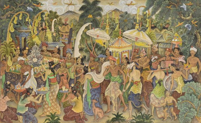 Procession Through the Jungle Village  - Painting by I Dewa Putu Sugi