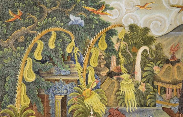 Procession Through the Jungle Village  - Folk Art Painting by I Dewa Putu Sugi