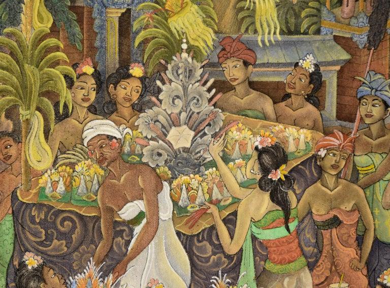 Procession Through the Jungle Village  - Brown Figurative Painting by I Dewa Putu Sugi
