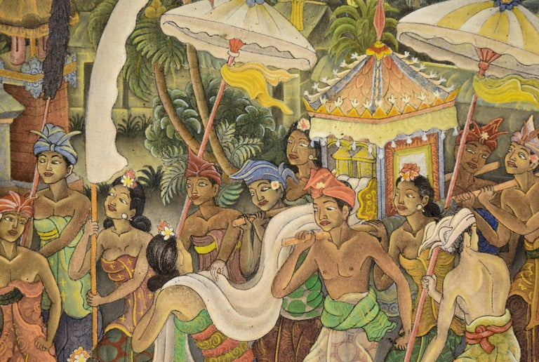 Lively and detailed depiction of a procession of Balinese Balinesian people in the Ubud regional style (Creamation Ceremony) by I Dewa Putu Sugi (Indonesian, b. 1931). Signed