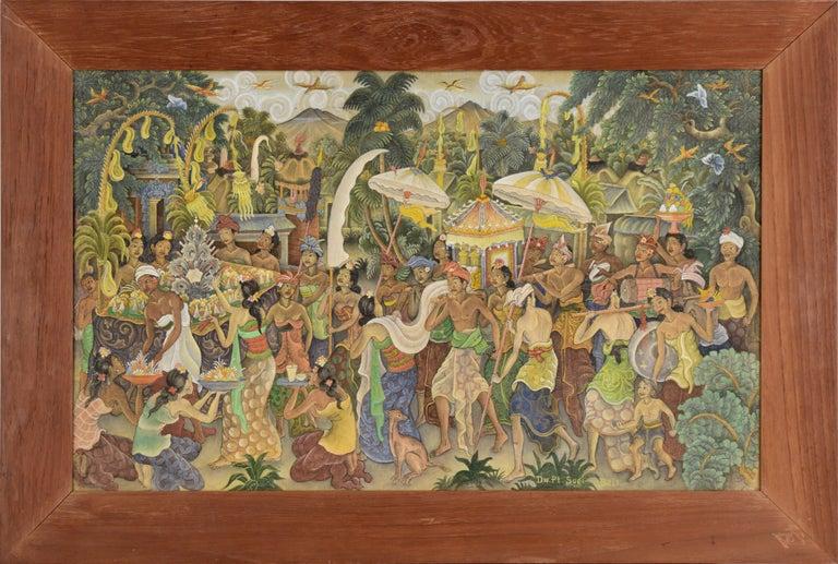 I Dewa Putu Sugi Figurative Painting - Procession Through the Jungle Village