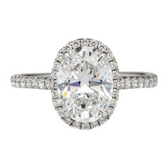 I Flawless 1.50 Carat Oval Cut Engagement Diamond Excellent Cut Ring