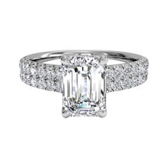 I Flawless GIA Certified 2 Carat Emerald Cut Diamond Double Pave Platinum Ring