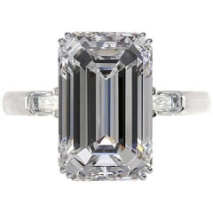 I Flawless D Color Exceptional GIA Certified 2.70 Carat Emerald Cut Diamond Ring