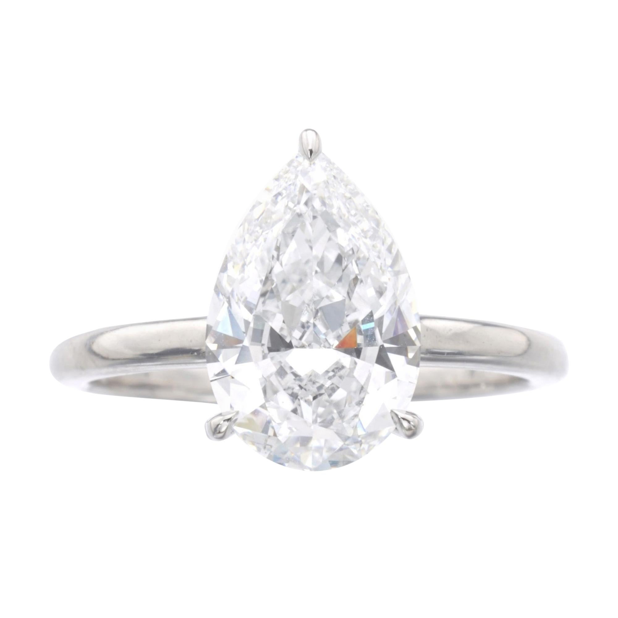 I Flawless D Color GIA Certified 2.21 Carat Pear Cut Diamond Platinum Ring