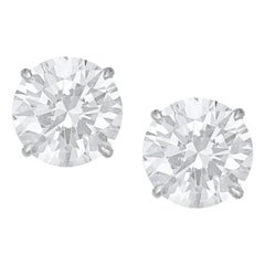 I Flawless D Color GIA Certified 3.21 Carat Round Diamond Studs