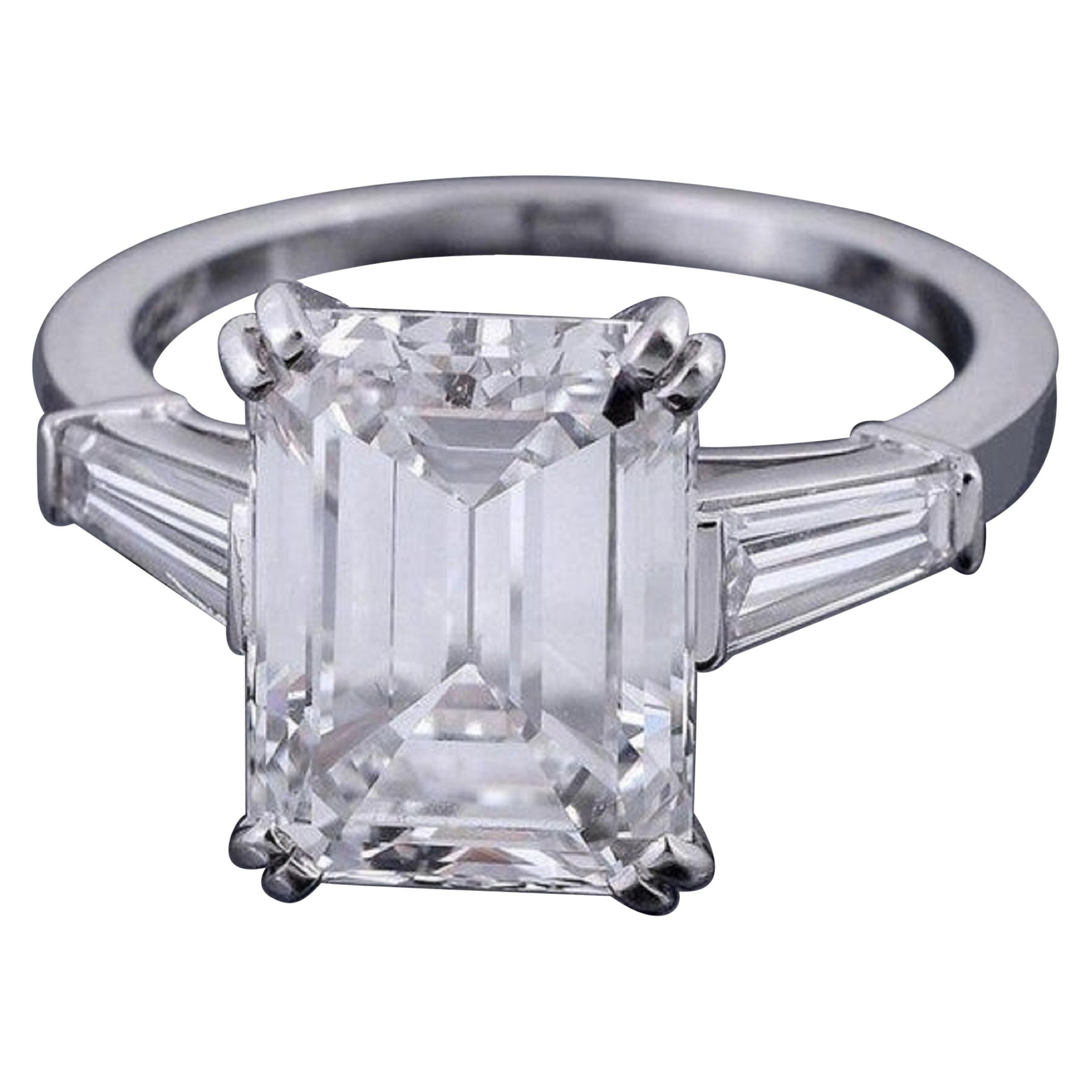 I Flawless D Color GIA Certified 5.65 Carat Emerald Cut Diamond Ring