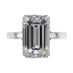 Exceptional GIA Certified 3 Carat Emerald Cut Diamond Ring 11.39 mm long
