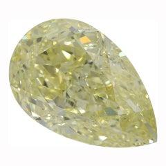 I Flawless GIA Certified 11.11 Carat Long Pear Fancy Light Yellow Diamond Ring