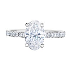 I Flawless GIA Certified 2.75 Carat Oval Diamond Ring 1.50 Ratio