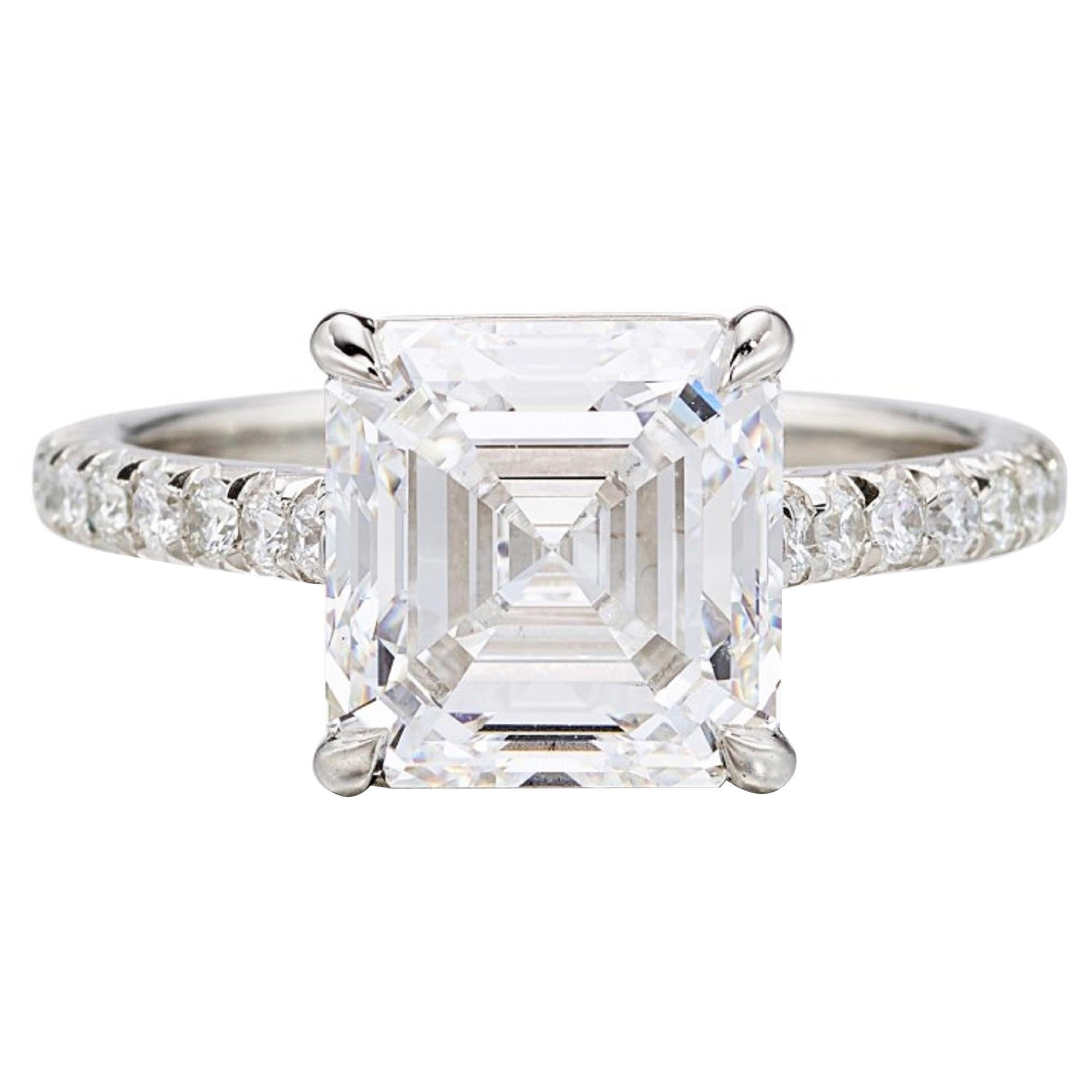 I Flawless GIA Certified 2 Carat Square Emerald Cut Diamond Pave Ring