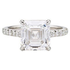 I Flawless GIA Certified 2.90 Carat Square Emerald Cut Diamond Pave Ring